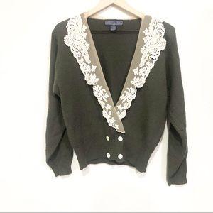 Vintage Herman Geist Lace Collar Button Cardigan